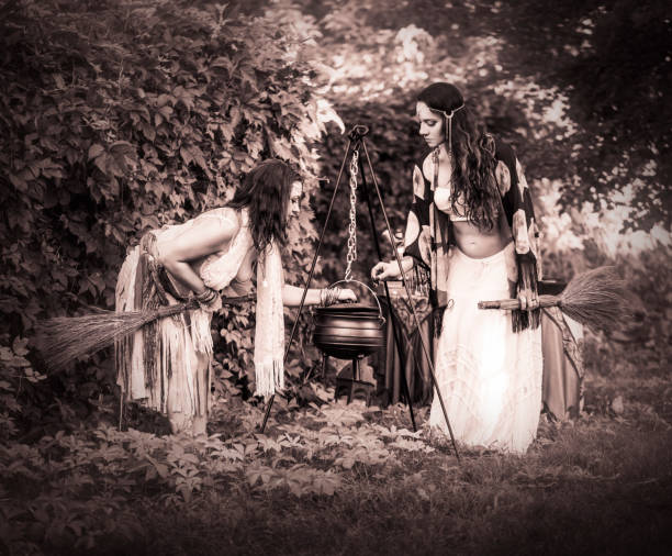 Witch Series: Women Casting Spells stock photo