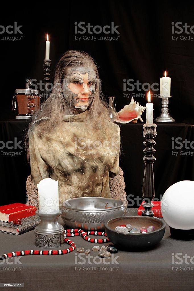 Witch shedding skin stock photo