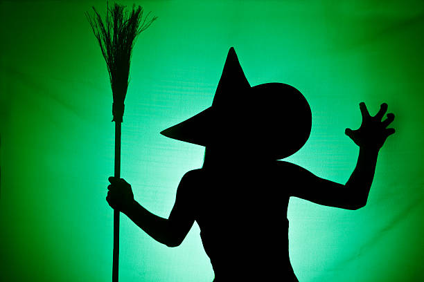 witch silhouette - diabolic stock pictures, royalty-free photos & images