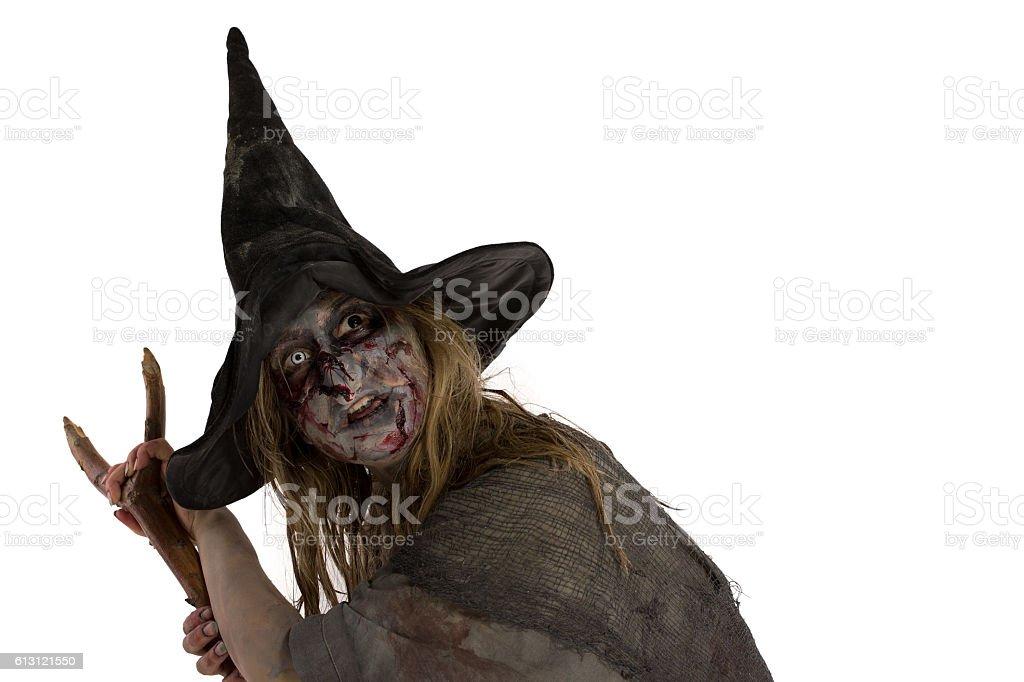 Bruja con una escoba - foto de stock
