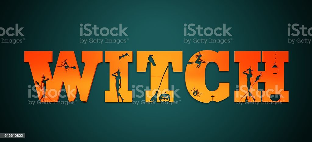 Witch word and silhouettes on them stock photo