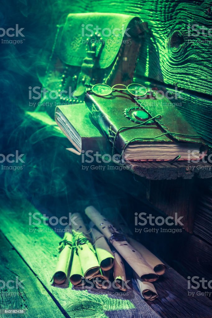 Witcher Cottage With Green Light And Books For Halloween