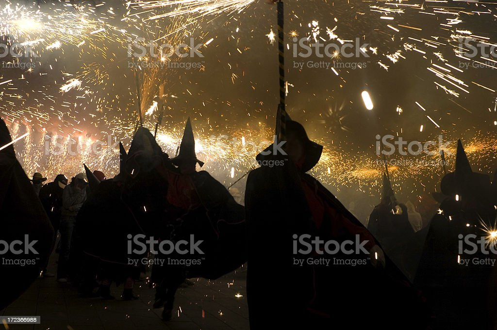 Witches dancing in the night 1. royalty-free stock photo