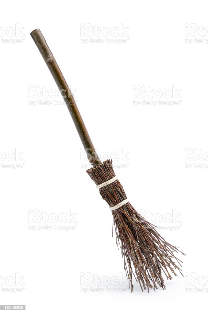 Witch's magic broom isolated on white background stock photo