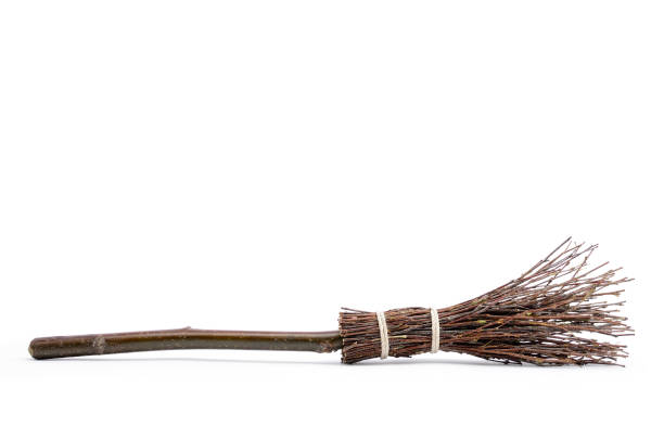 Witch's magic broom isolated on white background Witch's magic broom isolated on white background broom stock pictures, royalty-free photos & images