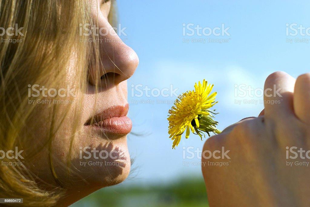 Con una flor foto de stock libre de derechos