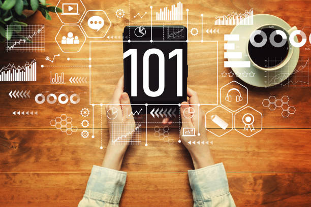 101 with a person holding a tablet stock photo