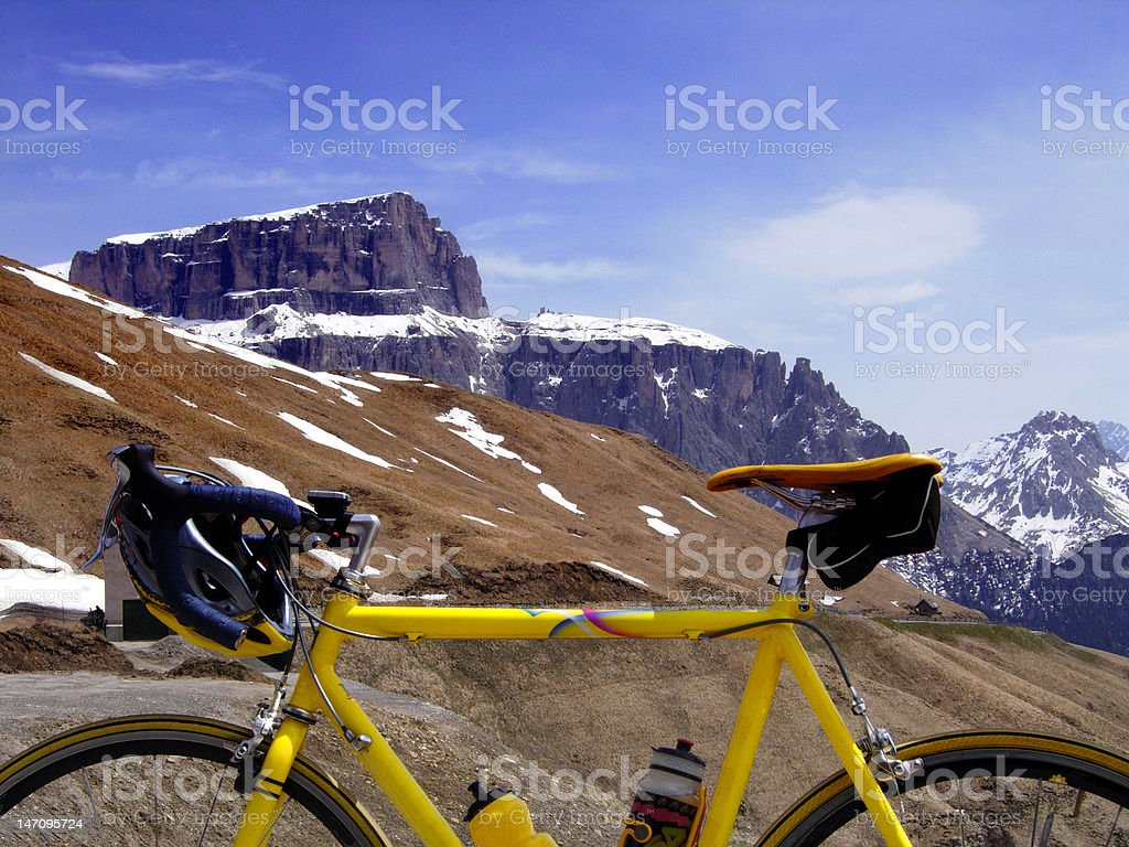 With a road bike in the mountains royalty-free stock photo