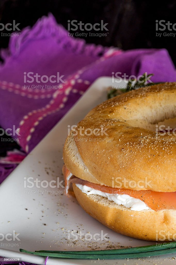 with a smoked salmon bagel and cream cheese royalty-free stock photo