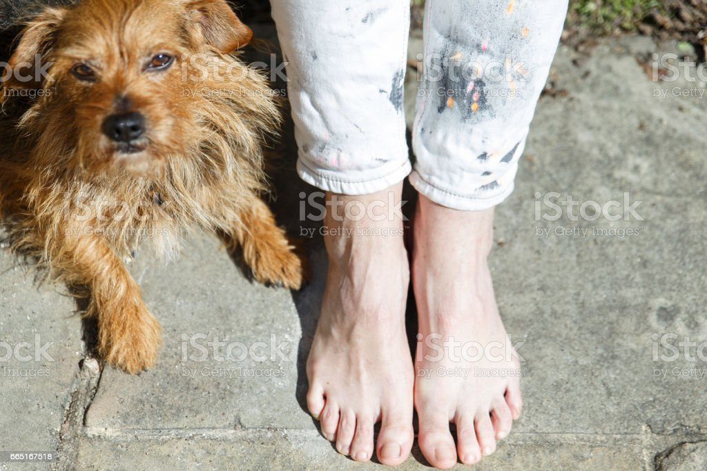 with bare feet stock photo