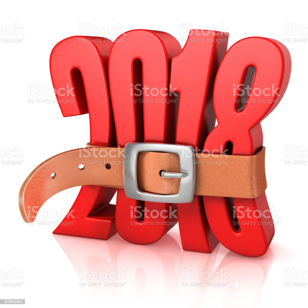 2018 with belt - year of recession 3d rendering stock photo