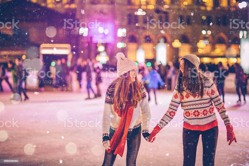 With bestie for Christmas stock photo
