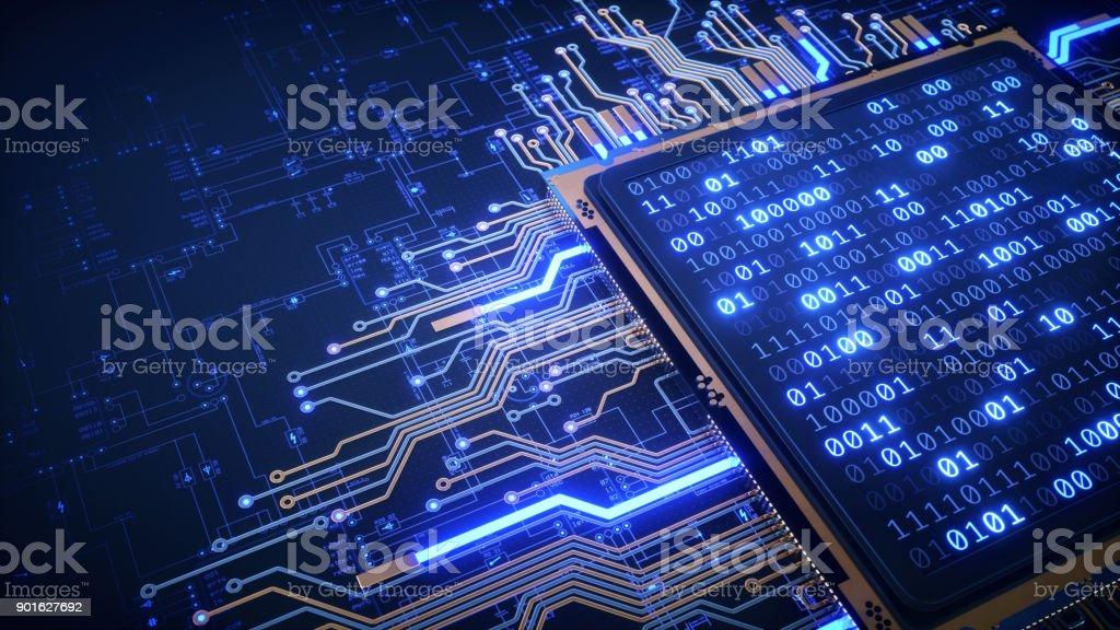 2進数と青写真の CPU ロイヤリティフリーストックフォト