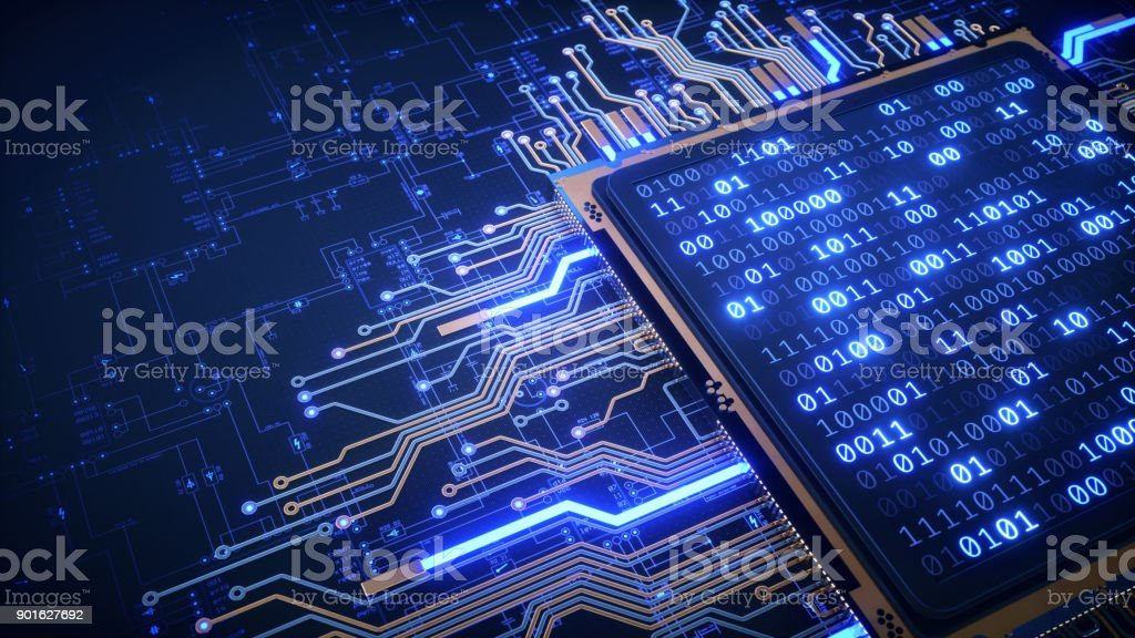 CPU With Binary Numbers And Blueprint stock photo