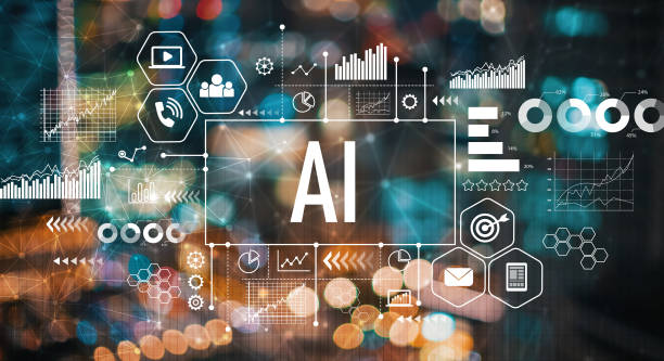 AI with blurred city lights AI with blurred city abstract lights background artificial intelligence stock pictures, royalty-free photos & images
