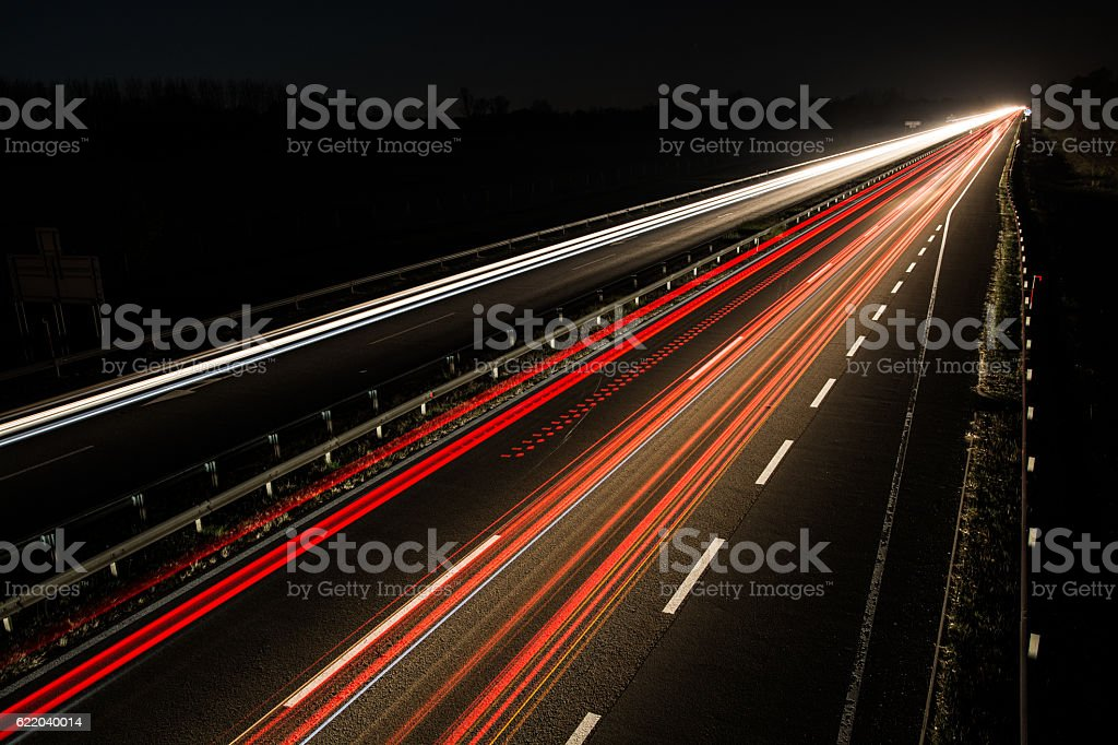 with car's light  on the street long exposure stock photo