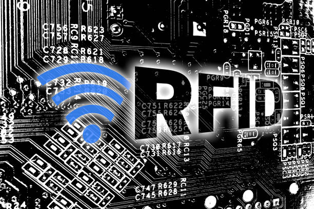 RFID with circuit board concept background. RFID with circuit board concept background. radio frequency identification stock pictures, royalty-free photos & images