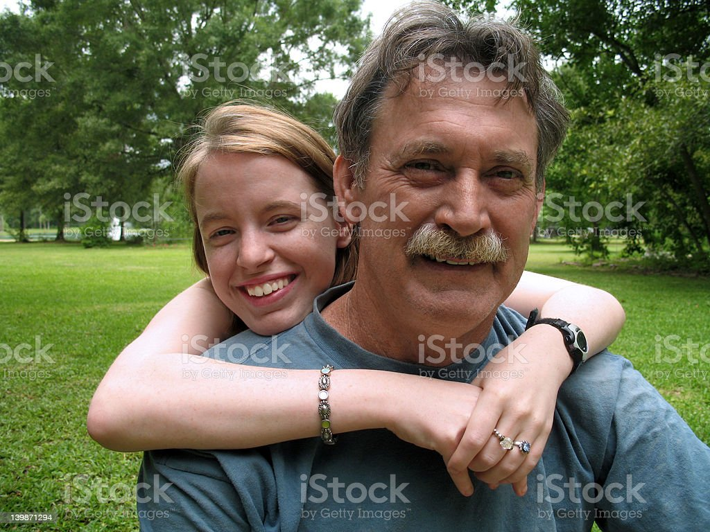 With Dad in the Backyard royalty-free stock photo