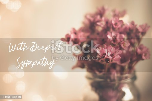With deepest sympathy card with pink bergenia in a glass vase background, white script text and a focus box
