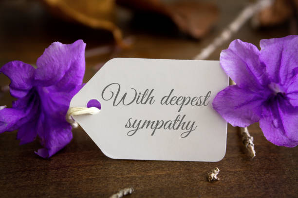 With deepest sympathy notecard stock photo