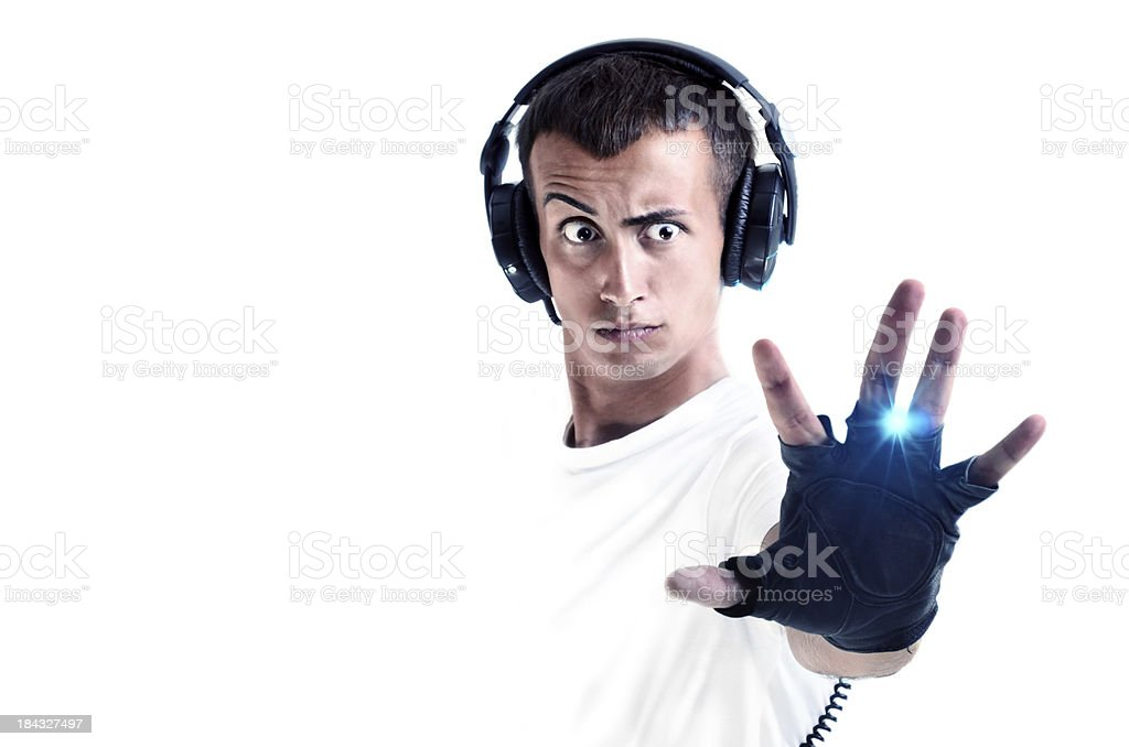 DJ with earphones isolated on white royalty-free stock photo