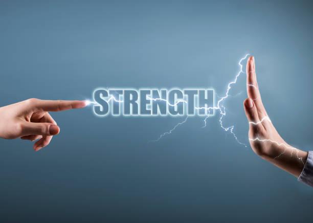 strength concept with electricity effect  (click for more) - greve imagens e fotografias de stock