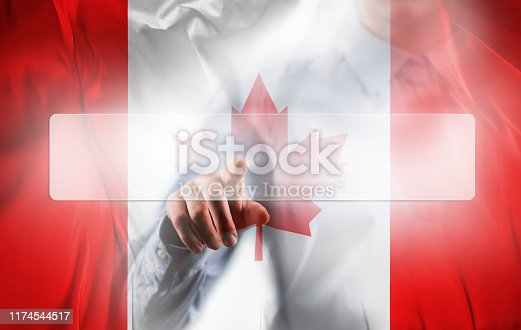 TOUCH SCREEN BUTTON with empty space for TEXT and CANADA FLAG / Flag concept (Click for more)