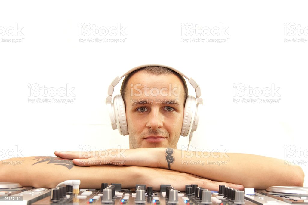 DJ with equipment royalty-free stock photo