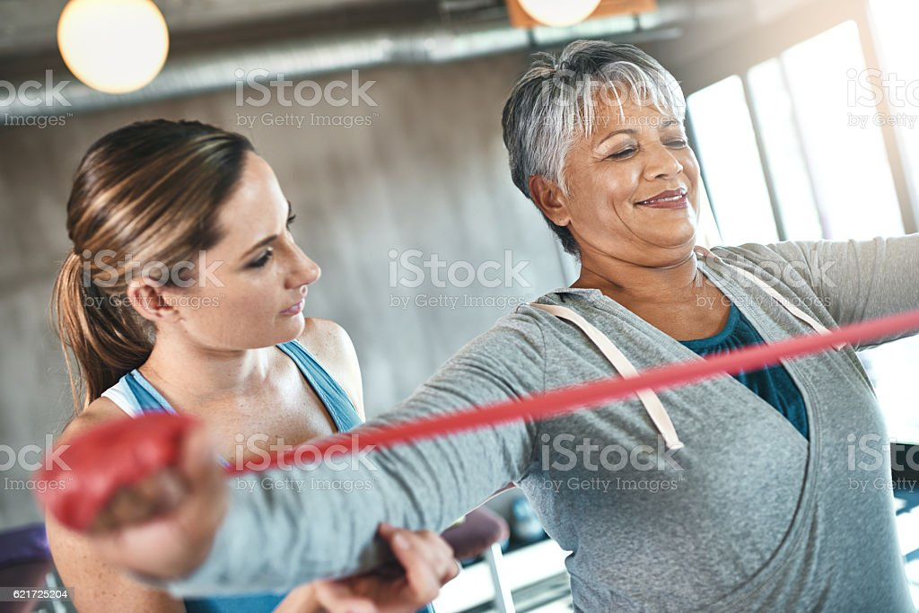 With exercise, the golden years just keep getting better stock photo