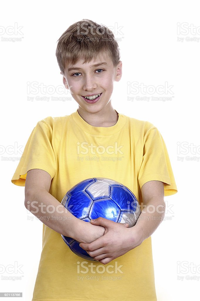 With football in a hand … royalty-free stock photo
