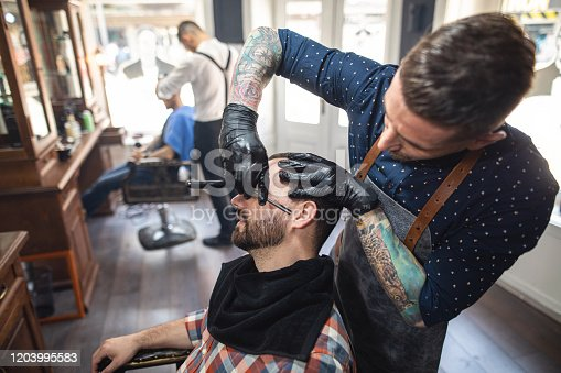 Professional barber trimming his customers beard