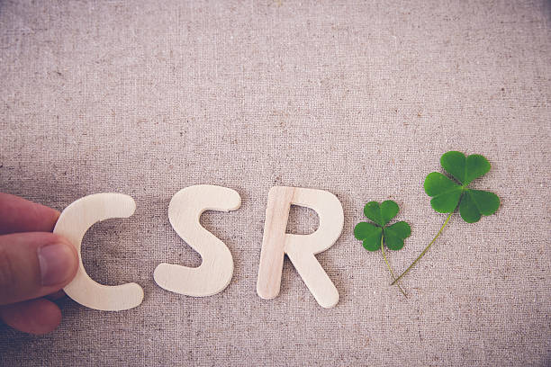 csr with green leaf, copy space background,toning - responsible business stock photos and pictures