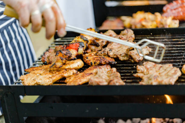 BBQ with grilled meat stock photo