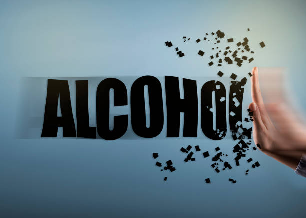 ALCOHOL with hand STOP SIGN concept (Click for more) stock photo