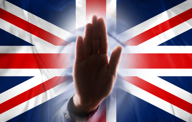 UNITED KINGDOM FLAG with hand STOP SIGN / Flag concept (Click for more) UNITED KINGDOM FLAG with hand STOP SIGN / Flag concept (Click for more) sanctions stock pictures, royalty-free photos & images