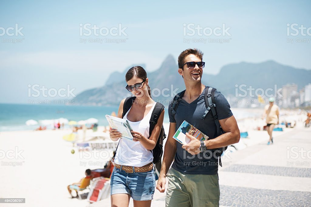 With her by my side this vacation will be great stock photo