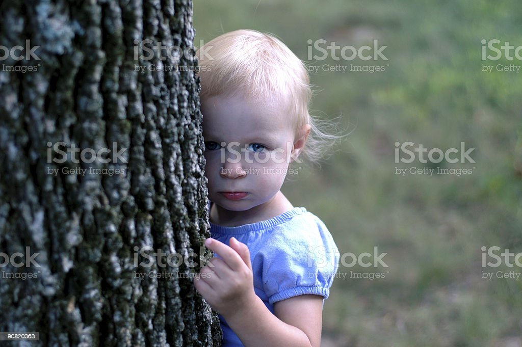 With her favorite tree royalty-free stock photo