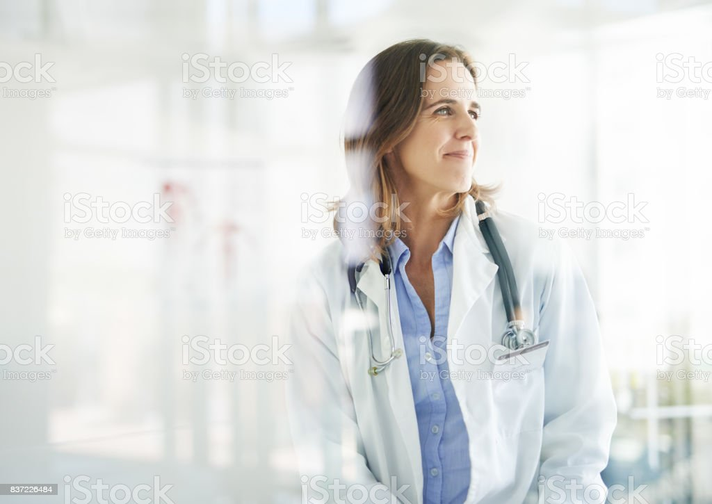 With her, good health is in sight stock photo