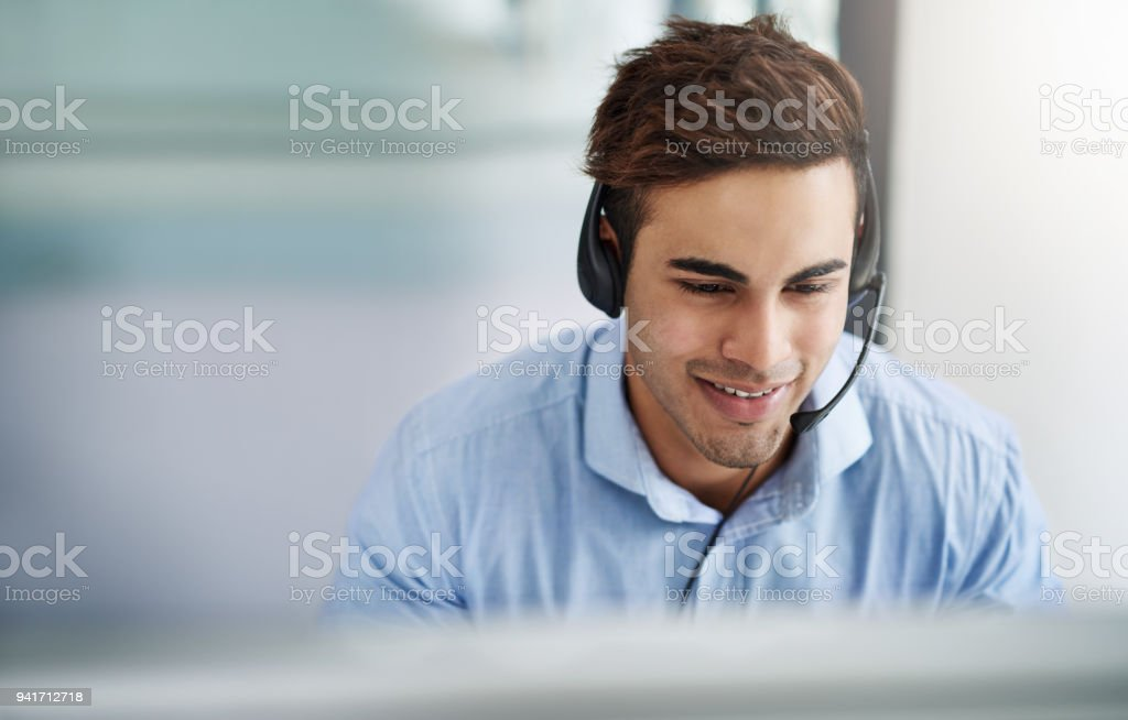 With him expect customer service at five star level stock photo