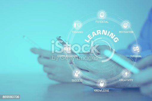 850892616istockphoto LEARNING CONCEPT with Icons and Keywords 859580706