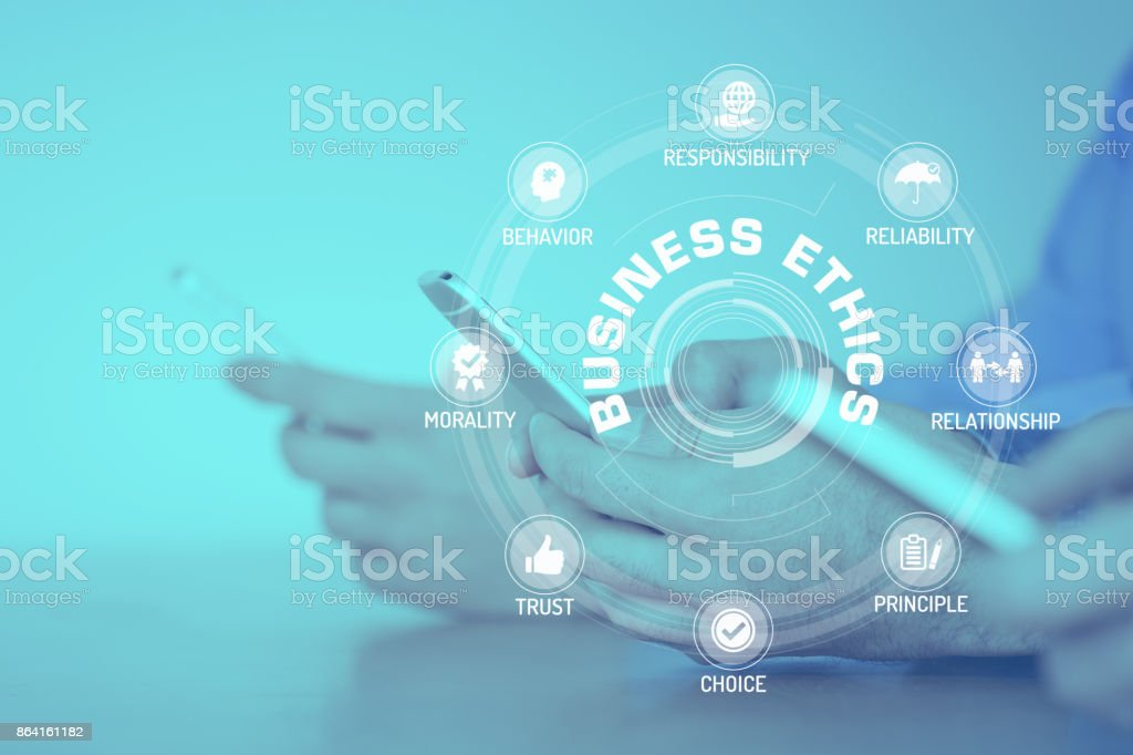BUSINESS ETHICS CONCEPT with Icons and Keywords royalty-free stock photo