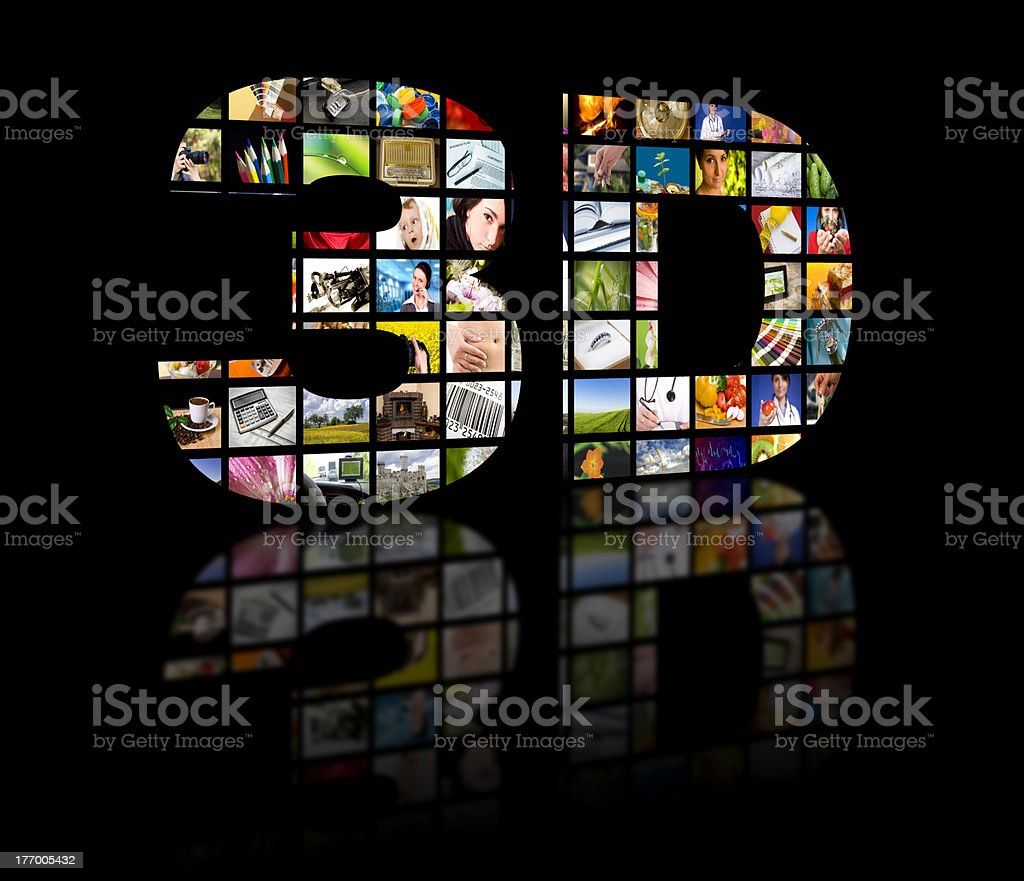 3D with images of different television programs stock photo