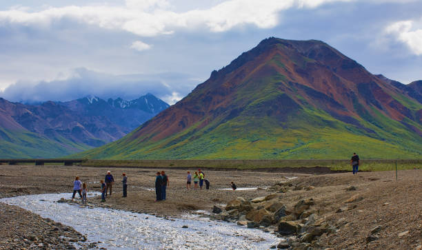 With its huge mountains and surrounded by a wonderful biodiversity lies the Denali National Park and Preserve. River, touristic route, people. Landscape, fine art. Parks Hwy, Alaska EUA: July 28, 2018 stock photo