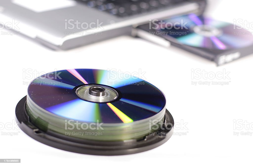 CD with laptop stock photo