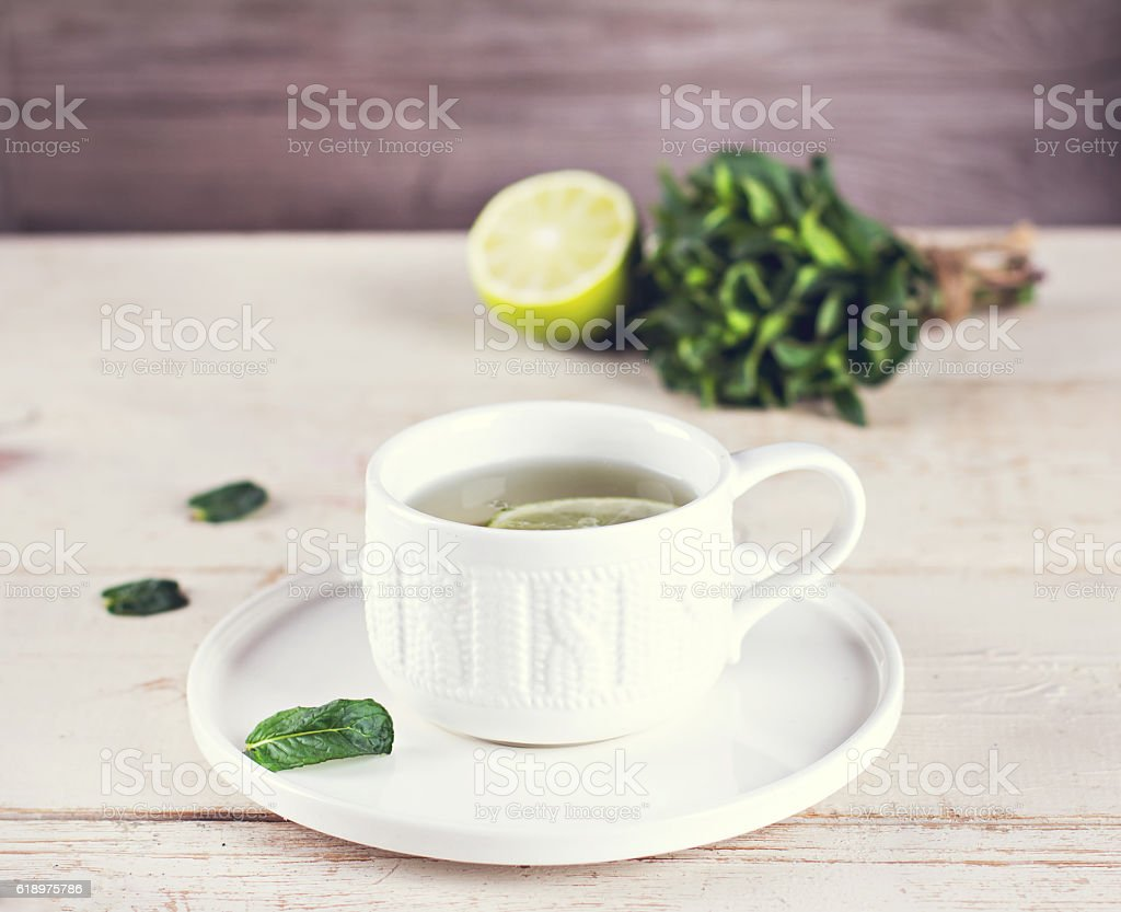 with mint and lemon tea stock photo