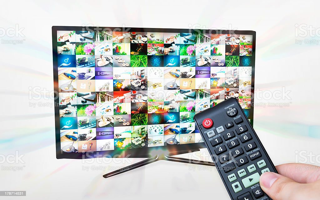 TV with multiple images gallery. Streaming glow effect. stock photo