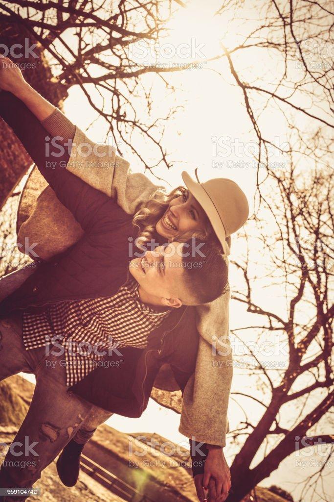 With my boyfriend never boring. stock photo