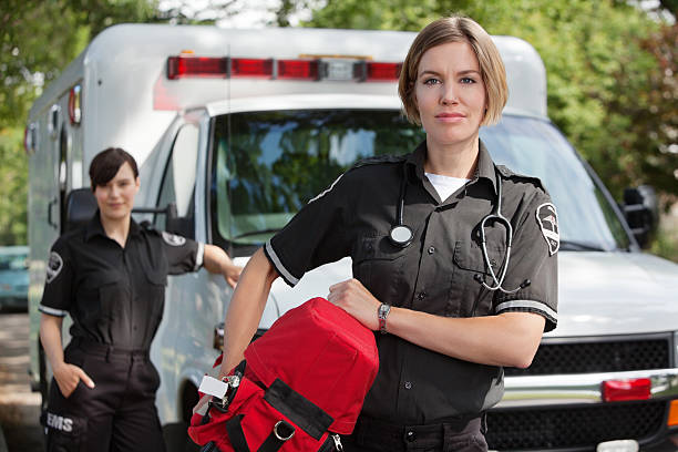 ems with oxygen - ambulance stock photos and pictures