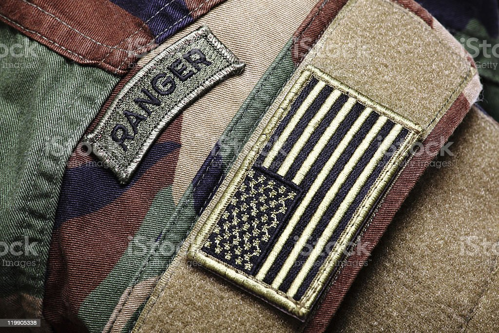 BDU RAID (woodland camo uniform) with patches stock photo
