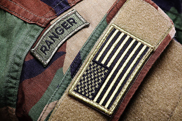 bdu raid (woodland camo uniform) with patches - insignia stock photos and pictures